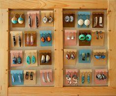 Lovely earring display by Sonya Girodon of Sonya's Polymer Creations.