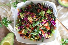 Kale, red cabbage, carrot, broccoli, red bell pepper, avocado and walnut slaw with ginger lemon dressing