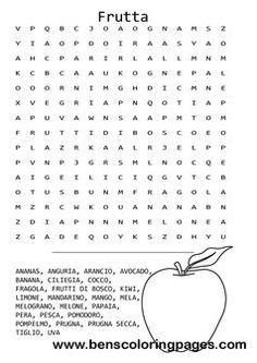 Fruit themed word search in Italian language