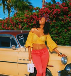 VSCO - jassieuo Yellow off the shoulder top Red Bell bottom pants Vacation Outfits, Summer Outfits, Cute Outfits, Black Girl Magic, Black Girls, Black Girl Swag, Photo Post Bad, Looks Style, My Style