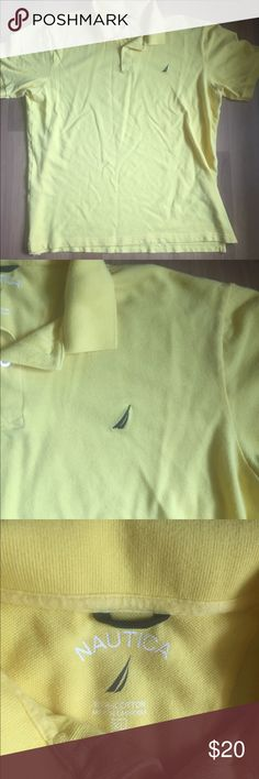 LIKE NEW. NAUTICA POLO. YELLOW AND NAVY BLUE. Great color for spring and summer! Excellent condition. No stains. Smoke free. It's is yellow with navy logo. 100% Cotten! XL Nautica Shirts Polos