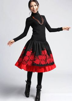 Maple Leaf  Linen skater skirt with double layer Hem  by xiaolizi, $35.00  small