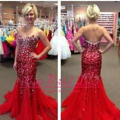 Luxury Crystal Mermaid Long Chiffon Red Prom Dress Sexy Sweetheart Off the Shoulder 2014 Women Backless Evening Dress-in Prom Dresses from A...