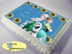 Disney Frozen Fever inspired edible image cake topper elsa anna olaf snowgies