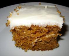 Pumpkin Cake Recipe Desserts with eggs, granulated sugar, oil, vanilla, pumpkin, all-purpose flour, baking powder, ground cinnamon, ground nutmeg, salt, baking soda, cream cheese frosting, cream cheese, butter, confectioners sugar, vanilla extract