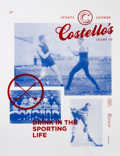 Costellos / Drinking in the sporting life / layout / poster / design / photography / colors