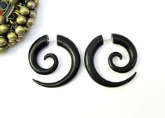 Earrings Fake Gauge Black Wood Earrings Spiral Tribal Earrings - Gauges Plugs Bone Horn - FG009 DW