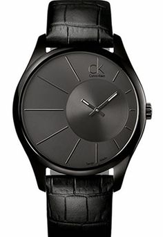 Calvin Klein Men's Deluxe Black Leather Quartz Watch with Black Dial Stylish Watches, Cool Watches, Watches For Men, Men's Watches, Wrist Watches, Calvin Klein Watch, Guy, Well Dressed Men, Quartz Watch