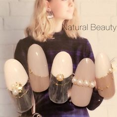 ネイル 画像 Natural Beauty 赤坂 664419 グレージュ 変形フレンチ ハンド パーティー ソフトジェル サンプルチップ Pearl Nails, Bling Nails, Gorgeous Nails, Pretty Nails, Kawaii Nails, Japanese Nails, Ideas Geniales, Garra, Bridal Nails