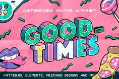 Welcome to Darumo Shop! Good Times is a graphic pack that includes fully customizable vector alphabet with numbers, rad inspired seamless patterns, decorative elements, illustrated Design Typography, Logo Design, Graphic Design, Identity Design, Web Design, Business Brochure, Business Card Logo, Alphabet, Pencil Illustration