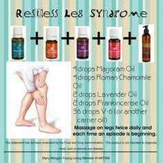 Essential Oils for Restless Leg Syndrome Restless Leg Essential Oil, Essential Oil Carrier Oils, Essential Oils For Pain, Essential Oil Uses, Doterra Essential Oils, Easential Oils, Restless Leg Syndrome, Young Living Oils, Natural Remedies