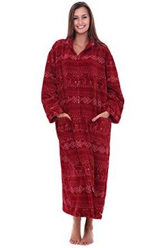 234fbddb28 Women s Red Snowflake Fleece Bathrobe 3XL 4XL Zipper Spa Robe Zip Front   DelRossa  Robes