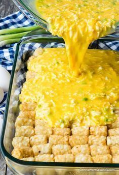 Our Easy Tater Tot Breakfast Casserole takes minutes to assemble and the result is a dish that's perfect for family breakfast, fancy brunch, or a church potluck! breakfast and brunch Tater Tot Breakfast Casserole Breakfast And Brunch, Breakfast Items, Breakfast Dishes, Yummy Breakfast Ideas, Breakfast Recipes With Eggs, Breakfast Dessert, Egg Recipes For Dinner, Banana Breakfast, Best Breakfast Foods