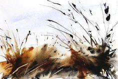 Winter Grasses Sketch. Expressive loose semi abstact watercolour painting by Adrian homersham.