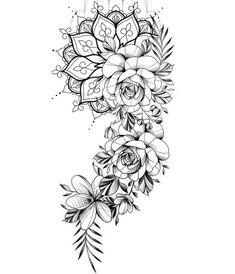 Tatuaje Mandala Floral, Sunflower Mandala Tattoo, Mandala Thigh Tattoo, Mandala Flower Tattoos, Floral Thigh Tattoos, Thigh Tattoo Flowers, Mandala Rose, Neue Tattoos, Body Art Tattoos