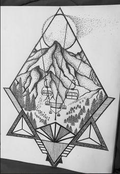 Ski Drawing, Skiing Tattoo, Mountain Sketch, Geometric Mountain Tattoo, December Bullet Journal, Art Journal Challenge, Winter Drawings, Sharpie Drawings, Stippling Art