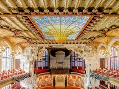 Palau de la Musica Catalana in Barcelona, designed by the catalan architect Lluís Domènech i Montaner is a modernist architecture masterpiece in Spain.
