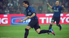 Diego Milito of FC Internazionale Milano celebrates scoring a goal during the Italian Serie A match against AC Milan