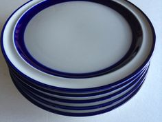Noritake Fjord Stoneware Salad Plates w Rich Indigo Stripe on White. Beautiful, minimalist Scandinavian design. ***Priced per plate**** Eight available. Signs of use. No chips or cracks. Please visit my shop at www.etsy.com/shop/vintagebybeth for additional colorful and fun vintage home decor items, clothing and accessories. Thank you