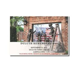 """The City of Duluth will hold a memorial service on Town Green to commemorate September 11th. The service will include a brief history on the 9/11 memorial """"Dream Keepers"""" created by Kathy Fincher that has a permanent home on Town Green, song and a moment of reflection from 6:00pm-6:15pm.  The community is encouraged to attend. Following the service, the Duluth City Council will hold their regularly scheduled meeting at 7pm."""