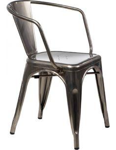 Krzesło Paris Arms w kolorze metalu inspirowane Tolix