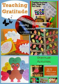 Teaching Gratitude Activities featured on the Sunday Showcase at Inspiration Laboratories