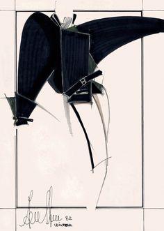 Fondazione Gianfranco Ferré / Collezioni / Donna / Prêt-à-Porter / 1982 / Autunno / Inverno Fashion Design Sketchbook, Fashion Design Portfolio, Fashion Illustration Sketches, Fashion Sketches, Illustrations, Gianfranco Ferre, Ferrat, Fashion Project, Technical Drawing