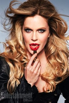 Pam De Beaufort showing her Fangs and Applying Red Lipstick   True Blood