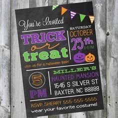 CUSTOMIZABLE   Halloween Party Chalkboard Style - 2014 Halloween for Kids #Halloween #Frozen