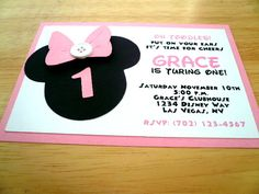Minnie Mouse Birthday Invitation, Minnie Mouse Baby Shower Invitation. $20.00, via Etsy.