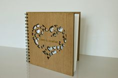 custom wedding guest book natural wood  hearts by HAPPYprojectSHOP, $40.00