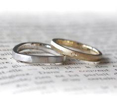 プラチナとゴールドのマリッジリング(オーダーメイド/手作り)それぞれ好みのデザインでお作りしました。 [結婚指輪,marriage,wedding,ring,bridal,K18,Pt900,ダイヤモンド,diamond]