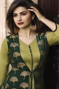 This Banarasi Jacquard And Satin Green Colour Kurti Is The Fun Attire Of The Moment. Get It On and Style It With Handbag and Earrings For The Perfect Day Look. Its Party Wear and Cute - The Essentials. Salwar Designs, Kurta Designs Women, Kurti Designs Party Wear, Latest Kurti Designs, Long Kurta Designs, Churidar Neck Designs, Sleeves Designs For Dresses, Neck Designs For Suits, Dress Neck Designs