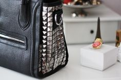 Black Leather Handbag With Studded Detail