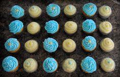 Aqua, yellow & grey chevron stripe Baby Shower Cupcakes - Baby Shower Cupcakes - ORDER CUSTOM CUPCAKES in Kenosha, WI & Northern IL... Birthday - Shower - Baby - Wedding - graduation - party - all occasions - holidays - https://www.facebook.com/StefsEvents blue & yellow