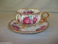 ROYAL HALSEY 3 Footed Tea Cup & Saucer GOLD/ ROSES Vintage China RARE Iridescent