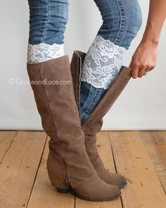 {Stretch Lace Boot Cuffs} - in IVORY .....Our Stretch Lace Cuffs look just as fab on jeans and leggings as they do on bare