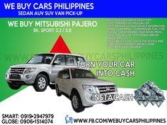 WE BUY USED MITSUBISHI PAJERO PHILIPPINES Pajero GLS 3.8 V6 Gas 4WD AT Pajero GLS 3.2 DI-D 4WD AT  Contact numbers: SMART: 0919-294-7979 GLOBE: 0927-956-2590 / 0906-151-4074