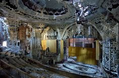 The ruined Spanish-Gothic interior of the United Artists Theater in Detroit. The cinema was built in 1928 by C. Howard Crane, and finally closed in 1974