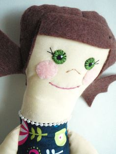 handmade cloth doll  brown hair green eyes fair by comebackkids, $32.00