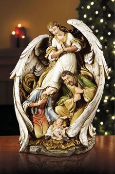 """Large Nativity Inside Of Angel Wings 15"""" tall Christmas Decoration"""