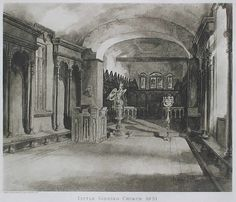 Interior of Little Gidding Church 1851, from a drawing by Rev. Edward Bradley (Cuthbert Bede)
