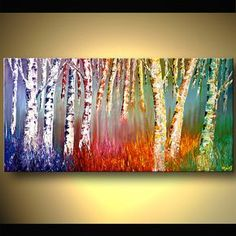 BLUE, YELLOW, GREEN ORANGE POP ART, INSPIRED BY BIRCH TREES - THIS ABSTRACT MODERN ART PIECE IS HAND PAINTED, FRAMED AND COMES IN 1 PIECE. - FREE SHIPPING SIZE: 16x16inch - DONE BY HAND. - COVERED BY