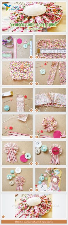 DIY brooch with floral fabric