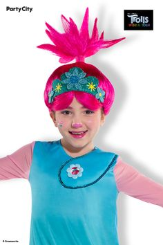 Get your little one dressed to save the day in this complete Queen Poppy costume. Begin with the sparkling blue dress, which features sequin details around the collar, a structured hoop skirt lined with tulips, and sheer pink long sleeves to match Poppy's skin color. The coordinating pink tights add an extra layer of warmth that's perfect for a night out of singing, dancing, and trick-or-treating. Top the whole ensemble off with the pink wig to nail Poppy's iconic look. Poppy Costume, Ponytail Wig, Pink Tights, Hoop Skirt, Pink Wig, Footless Tights, Poppies, Tulips, Tulip