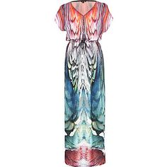 Multicoloured abstract print maxi dress, River Island