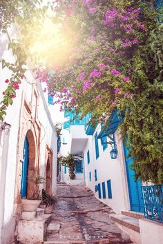 sidi bou said, Tunisia by Dorra sassi on Sidi Bou Said, Places To Travel, Places To Visit, Black Background Wallpaper, Colour Architecture, Beautiful Places, Great Places, Arabic Art, World Of Color