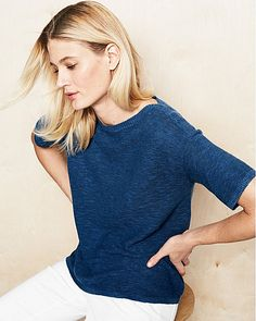 Eileen Fisher Slubbed Organic Linen & Cotton Boxy Sweater
