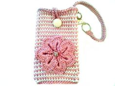 Mauve & White Striped Phone Pouch with Strap, Samsung Galaxy s3 Note 2 Wristlet by Knit Blossom on Etsy, $13.50