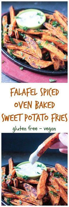 Falafel Spiced Oven Baked Sweet Potato Fries - dairy free, gluten free, vegan, kid friendly, healthy, side dish, snack, appetizer